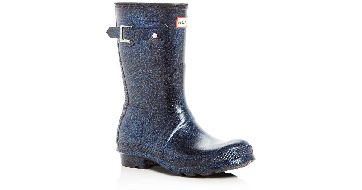Hunter Blue Women S Original Short Starcloud Glitter Rain Boots