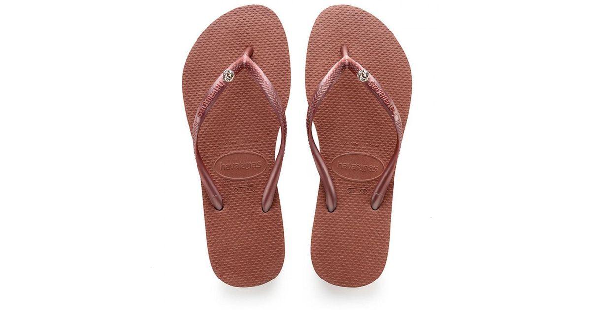 9bcb118f2 Havaianas Slim Crystal Flip Flops Bronze Nude in Red - Lyst