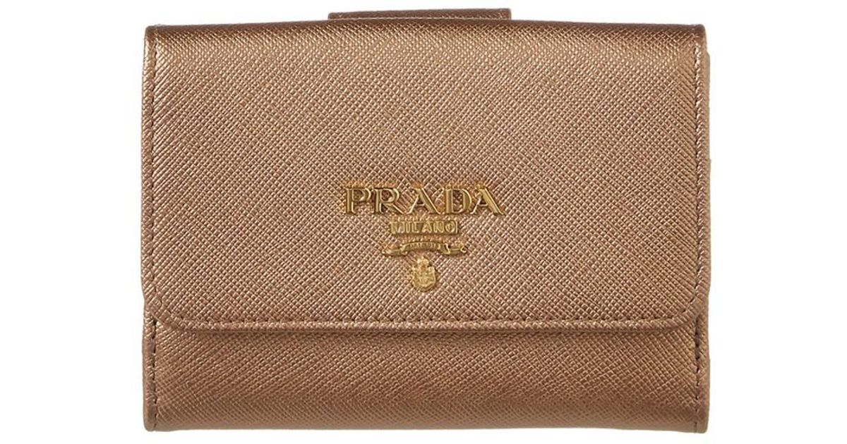 953c47f92778 ... promo code for lyst prada saffiano leather trifold flap wallet in  metallic save 4.761904761904759 7de3c 4ca83