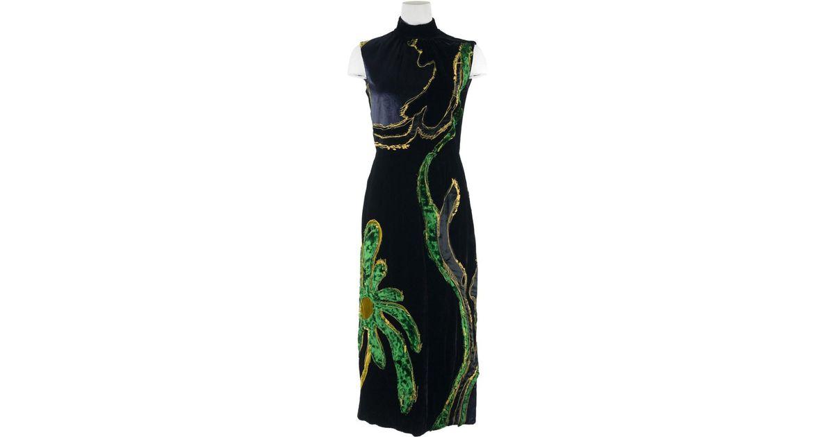 Lyst - Prada Womens Black Floral Embroidered Velvet Sleeveless Dress in  Black 506329bbd7
