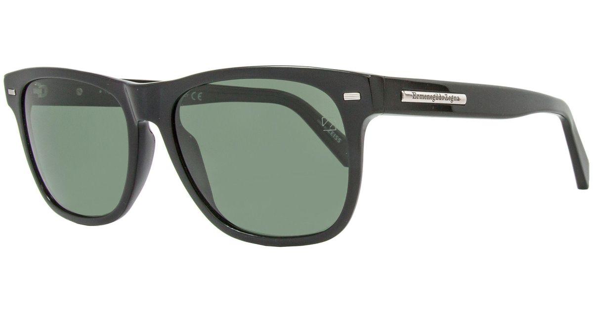 5ca22a5121 Lyst - Ermenegildo Zegna Rectangular Sunglasses Ez0020 01r Shiny Black  Polarized 20 in Green for Men - Save 14.38848920863309%