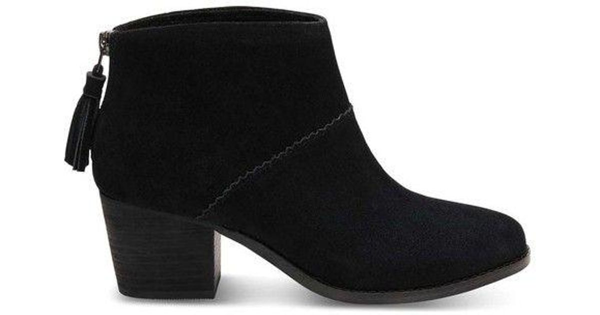 a26a8c20b44 Lyst - Toms Women s Leila Leather Bootie Black Suede Size 5.5 M in Black