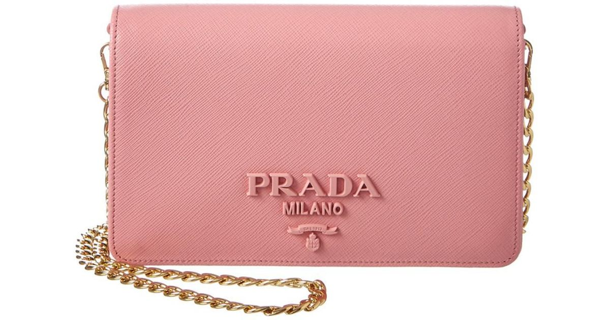... uk lyst prada monochrome saffiano leather wallet on chain in pink a1303  8b5a3 0d43c0f226231