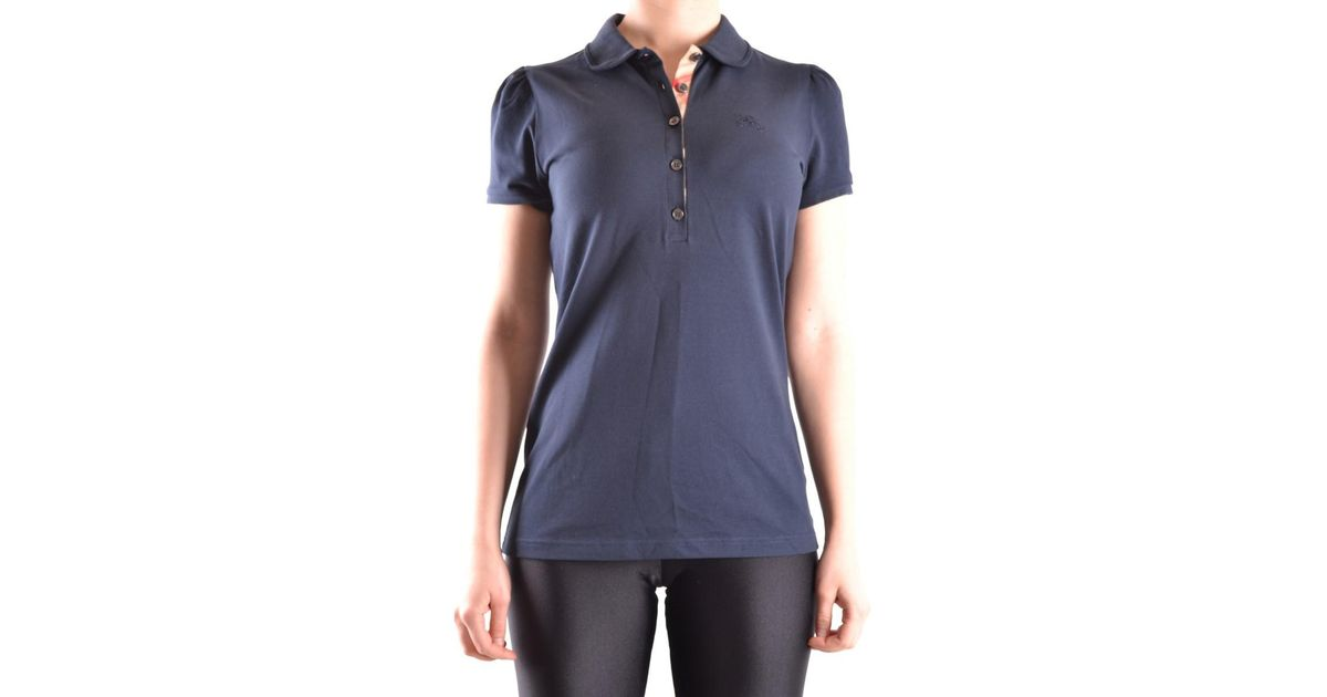 9c5679beb Lyst - Burberry Women s Blue Cotton Polo Shirt in Blue