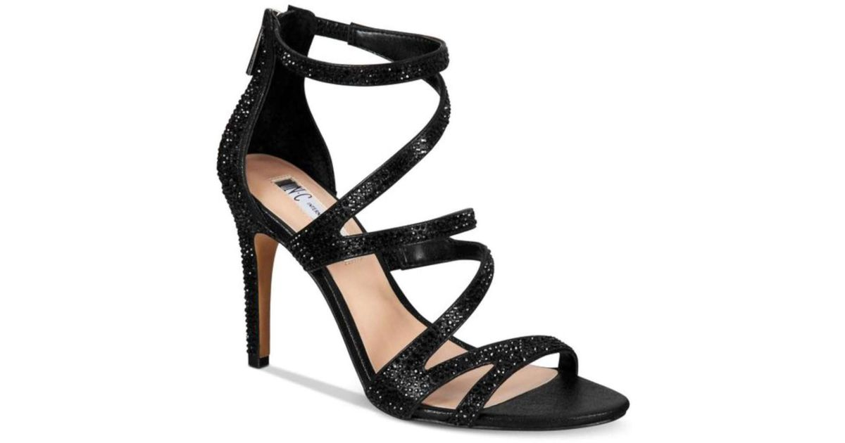 54fff02022d03b Lyst - Inc International Concepts Womens Regann2 Fabric Open Toe Casual  Strappy Sand... in Black