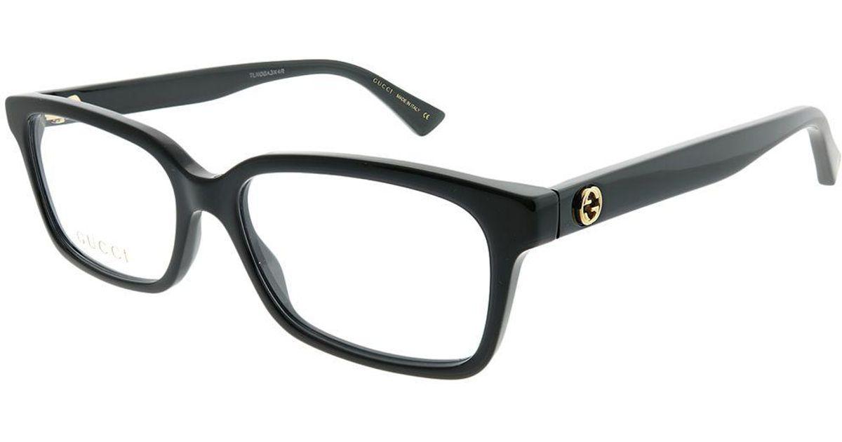 accd5da6320 Lyst - Gucci GG 0168o 001 Black Rectangle Eyeglasses in Black