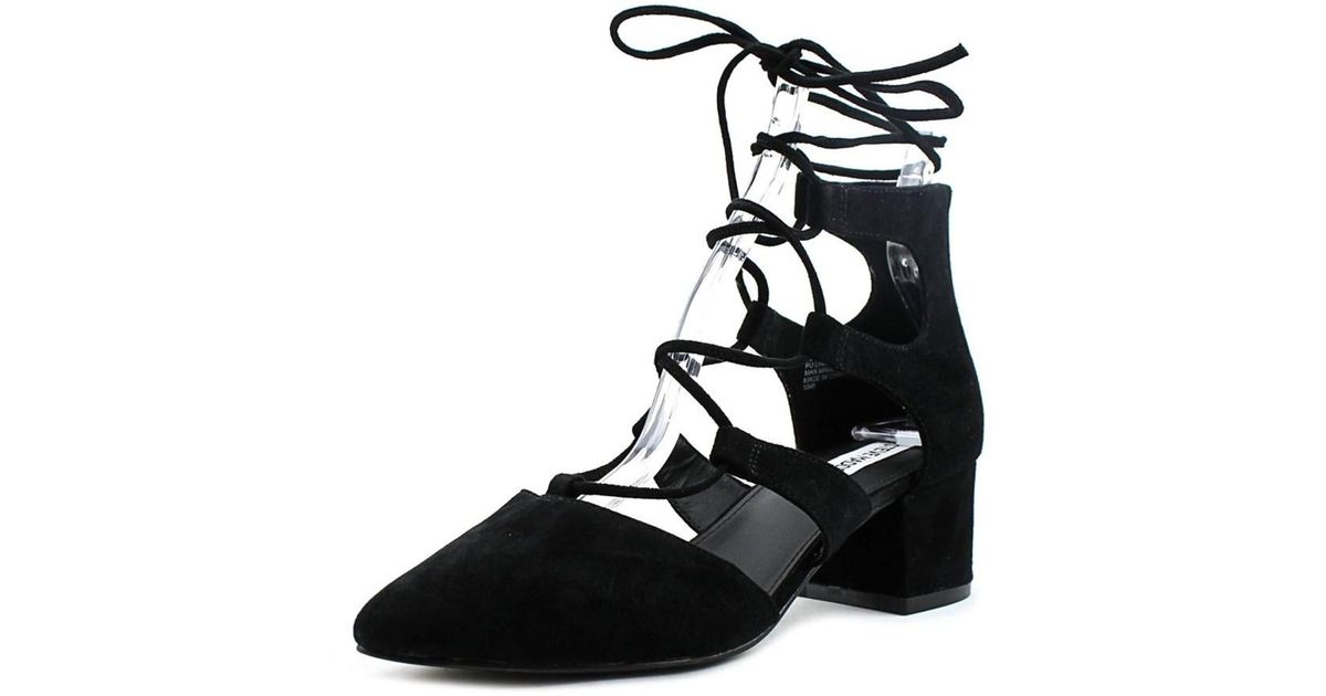 3da77f22f94 Steve Madden - Wishez Women Open Toe Suede Black Sandals - Lyst