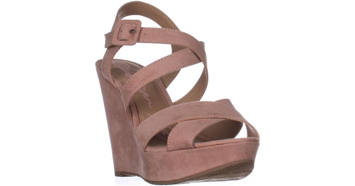 144a7b3b96 Lyst - American Rag Ar35 Rachey Wedge Platform Strappy Peep-toe Sandals,  Blush in Pink