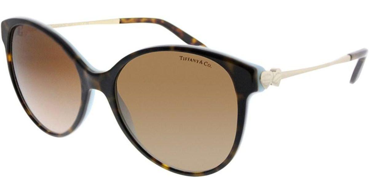 5283501d0f Tiffany   Co Tf 4127 81343b 56mm Havana Blue Round Sunglasses in Blue - Lyst