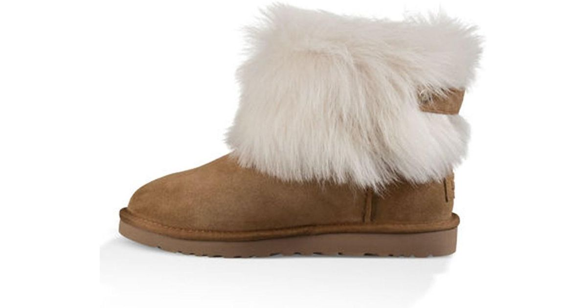 45387e26ab8 UGG - Brown Womens Valentina Fur Closed Toe Ankle Cold Weather Boots - Lyst