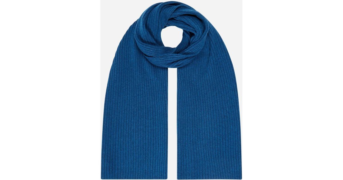 aae7c9d7bde Lyst - N.Peal Cashmere Short Ribbed Cashmere Scarf in Blue for Men