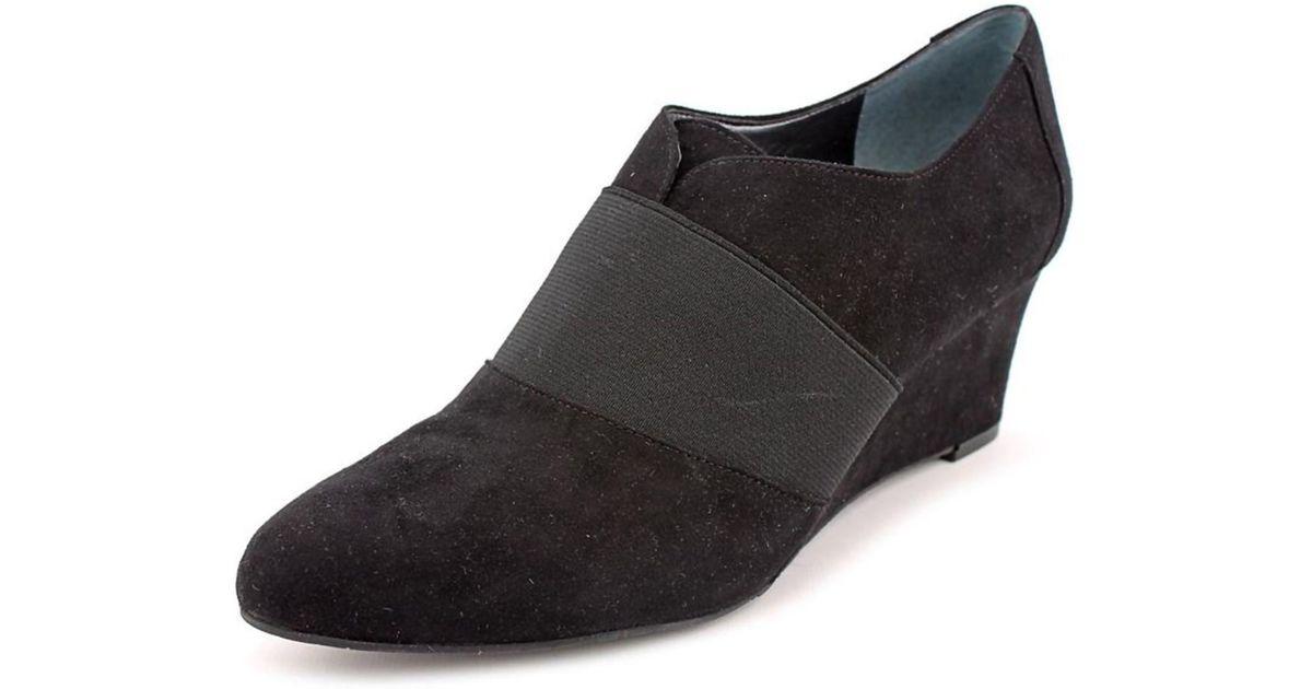 tahari open toe suede wedge heel in black lyst