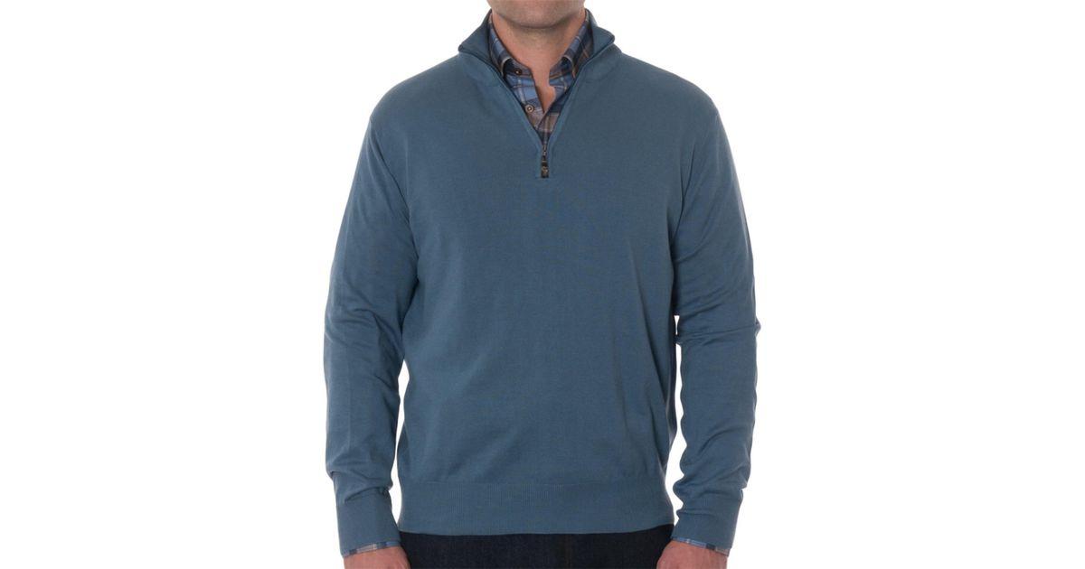 Lyst robert talbott cooper cotton 1 4 zip sweater in for Robert talbott shirts sale