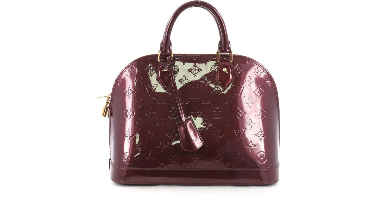 6cbaa30bcc92 Lyst - Louis Vuitton Pre Owned Alma Handbag Monogram Vernis Pm