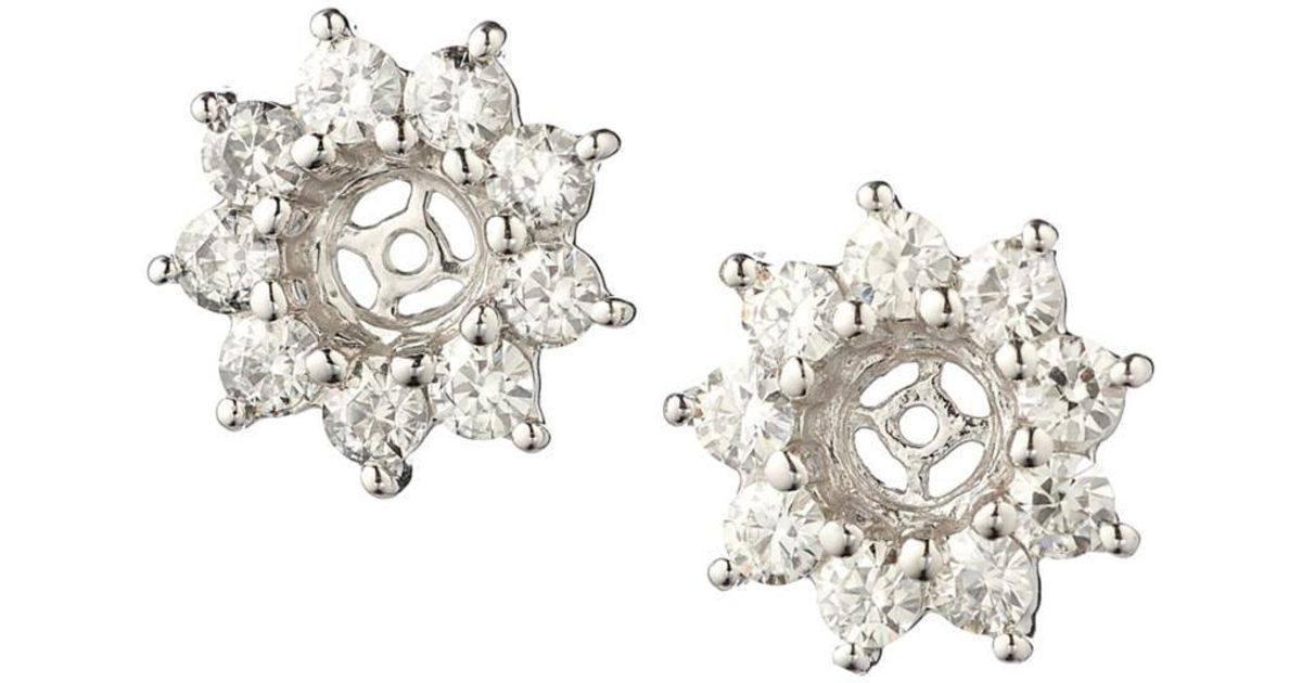 Lyst Charles Colvard Round Brilliant Cut Moissanite Flower Earring Jackets 0 54cttw Dew