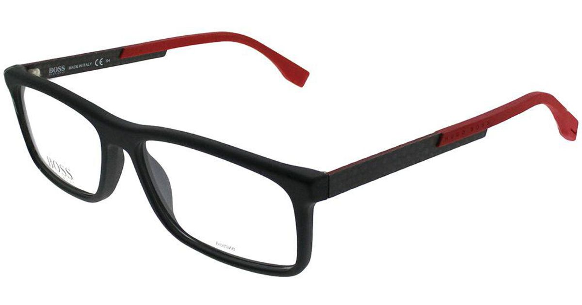 abf871761b Lyst - Boss Boss 0774 Qmi 56mm Black Carbon Red Rectangle Eyeglasses in  Black