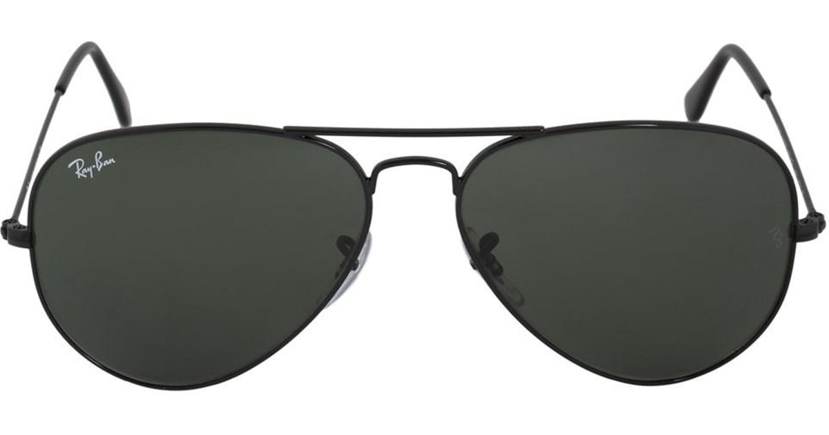 4fa509794f999 ... coupon code for lyst ray ban aviator large metal sunglasses rb3025  l2823 58 black frame green