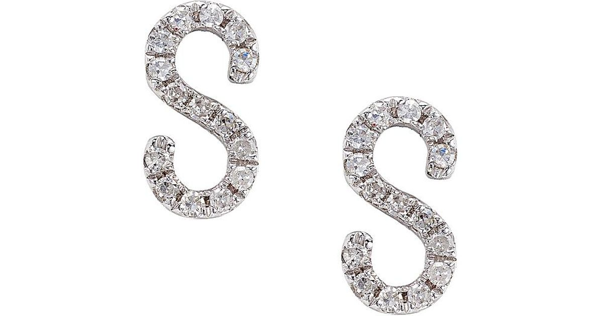 Lyst Cr By Casa Reale 14 K Gold White Diamond S Initial Earrings In