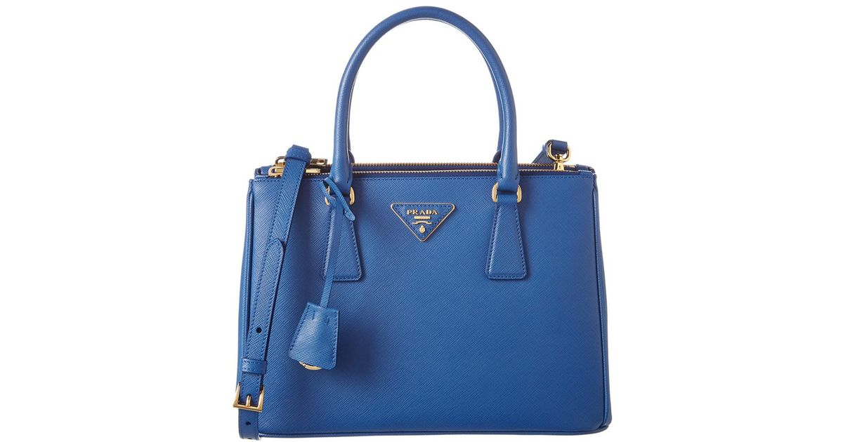 e66799f7d8ea ... new style lyst prada galleria saffiano leather double handle tote in  blue e7eaa b9c2a