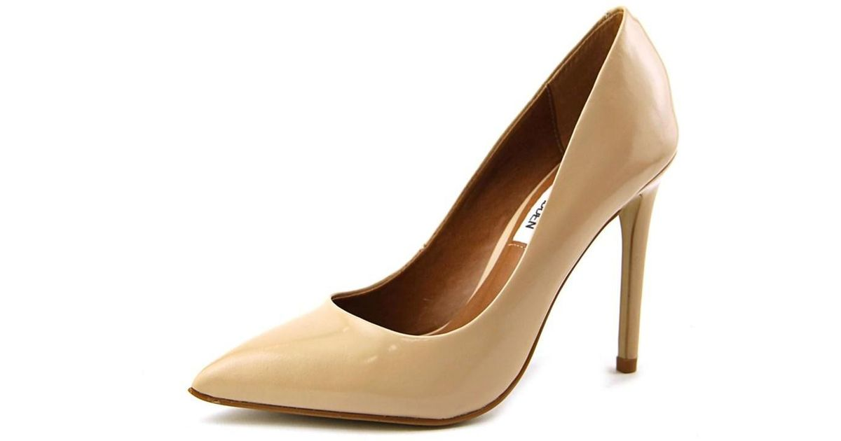 2ae8c33a3a3 Lyst - Steve Madden Proto Women Pointed Toe Leather Nude Heels in Natural