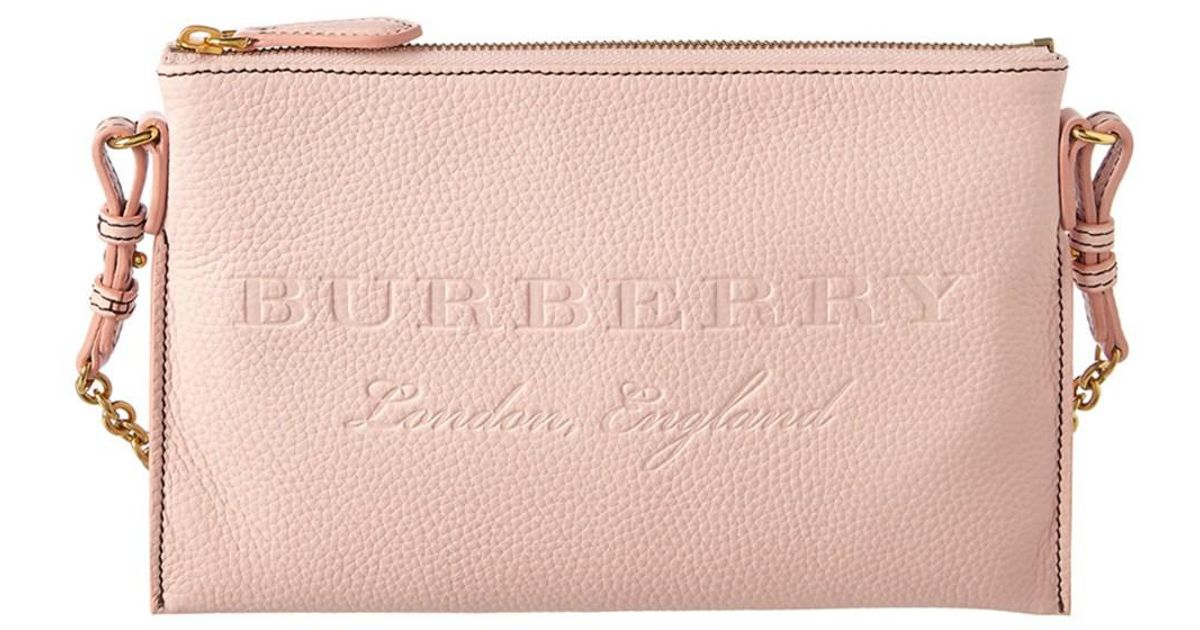 930fb4c85455 Lyst - Burberry Embossed Leather Clutch Bag in Pink