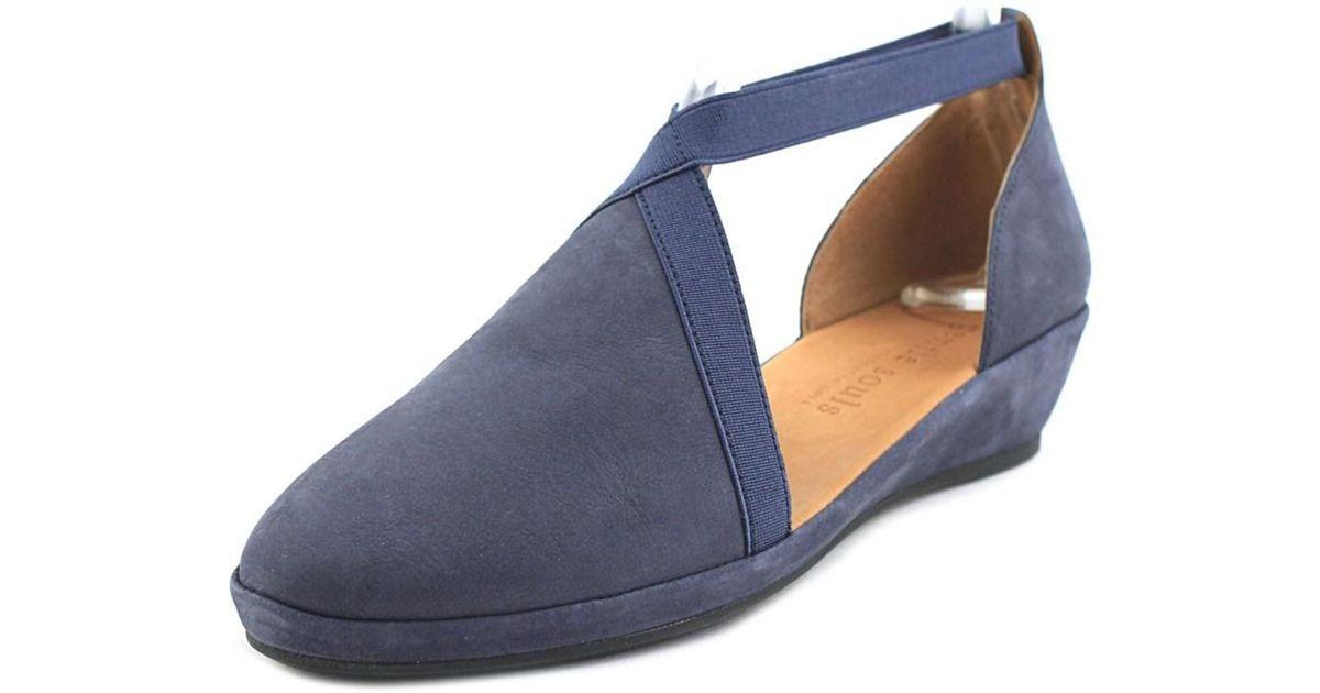 4dad8b623523 Lyst - Gentle souls Natalia Women Open Toe Synthetic Blue Wedge Sandal in  Blue