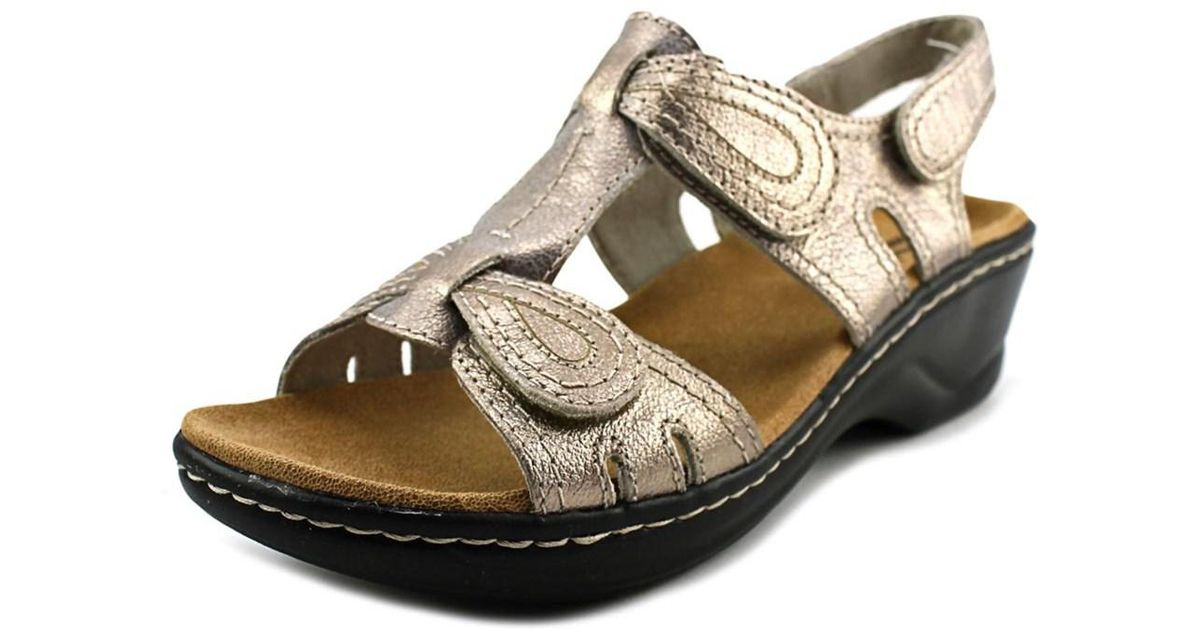 bd34f248294 Lyst - Clarks Lexi Walnut Q Women W Open Toe Leather Gold Wedge Sandal in  Metallic