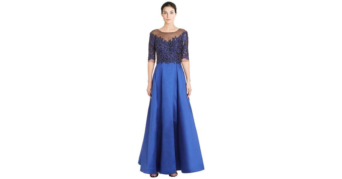 b695914128e4 Lyst - Teri Jon Embellished Lace Taffeta Gown in Blue
