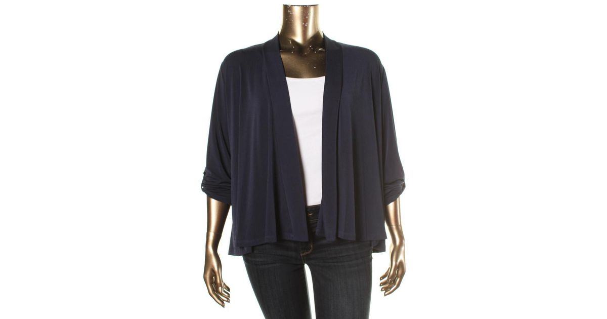 d5556dd6136b Lyst - Charter Club Womens Plus Matte Jersey Adjustable Sleeves Cardigan  Top in Blue