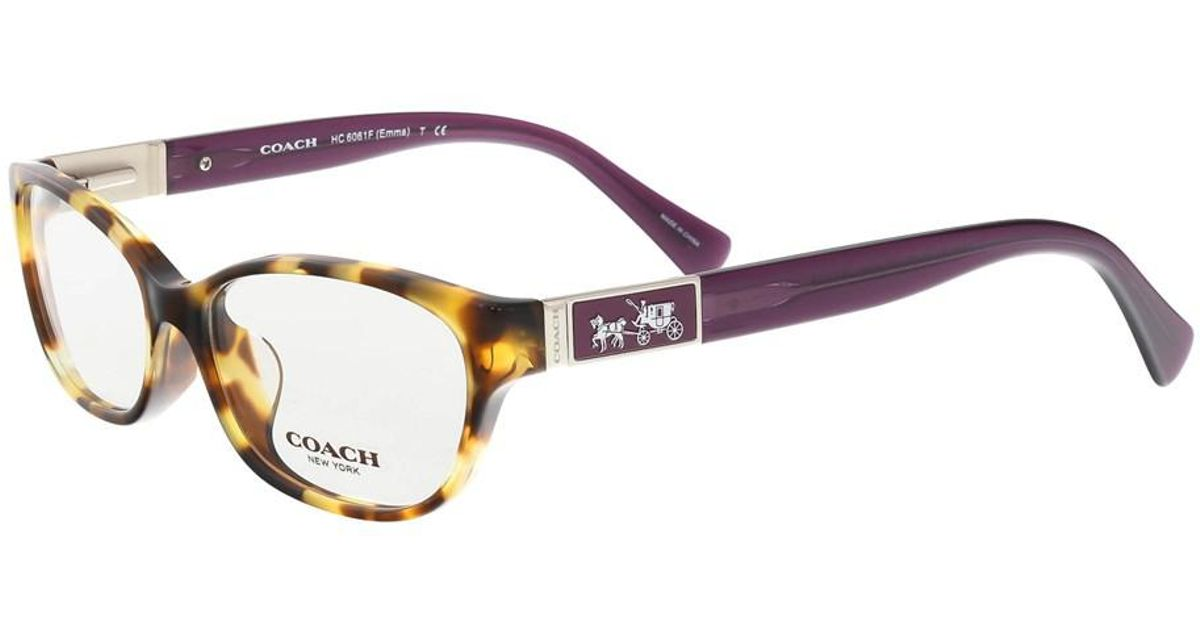 Lyst - Coach Hc6061f5273 Spotty Tortoise/purple Oval Optical Frames ...