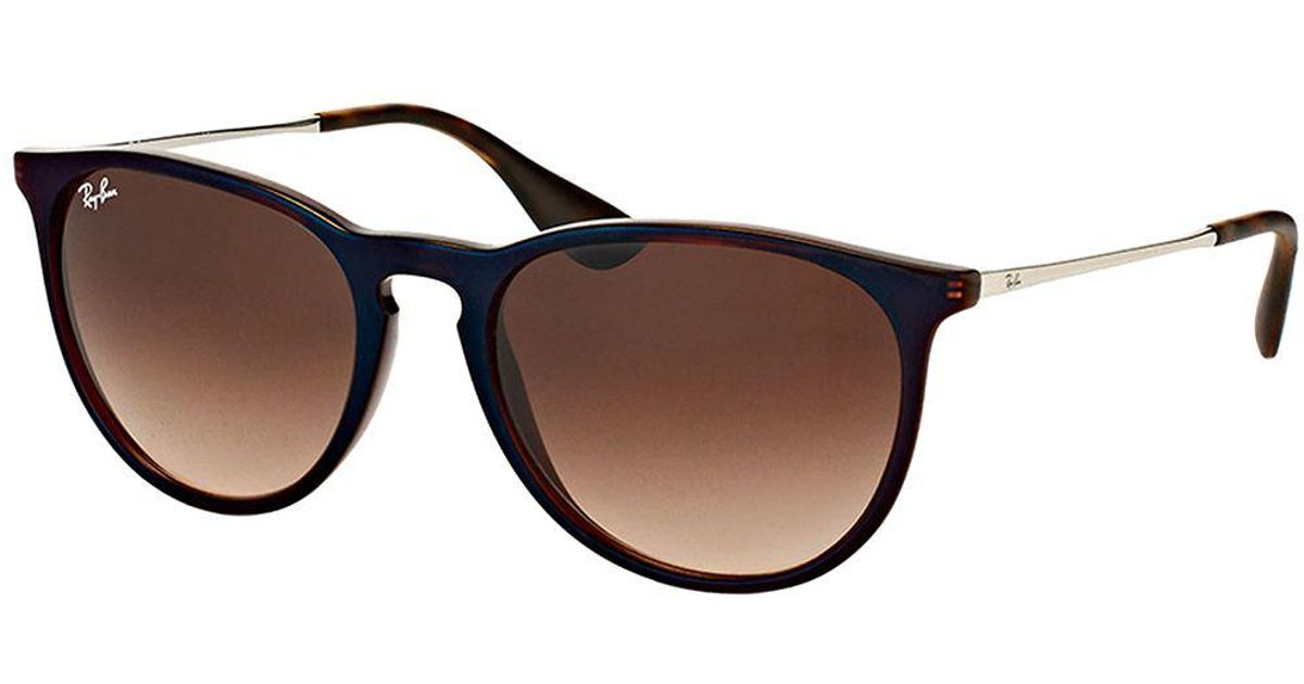 49ec7f07731 Lyst - Ray-Ban Erika Rb 4171 631513 Trasparent Brown Sp Blue Round  Sunglasses in Brown