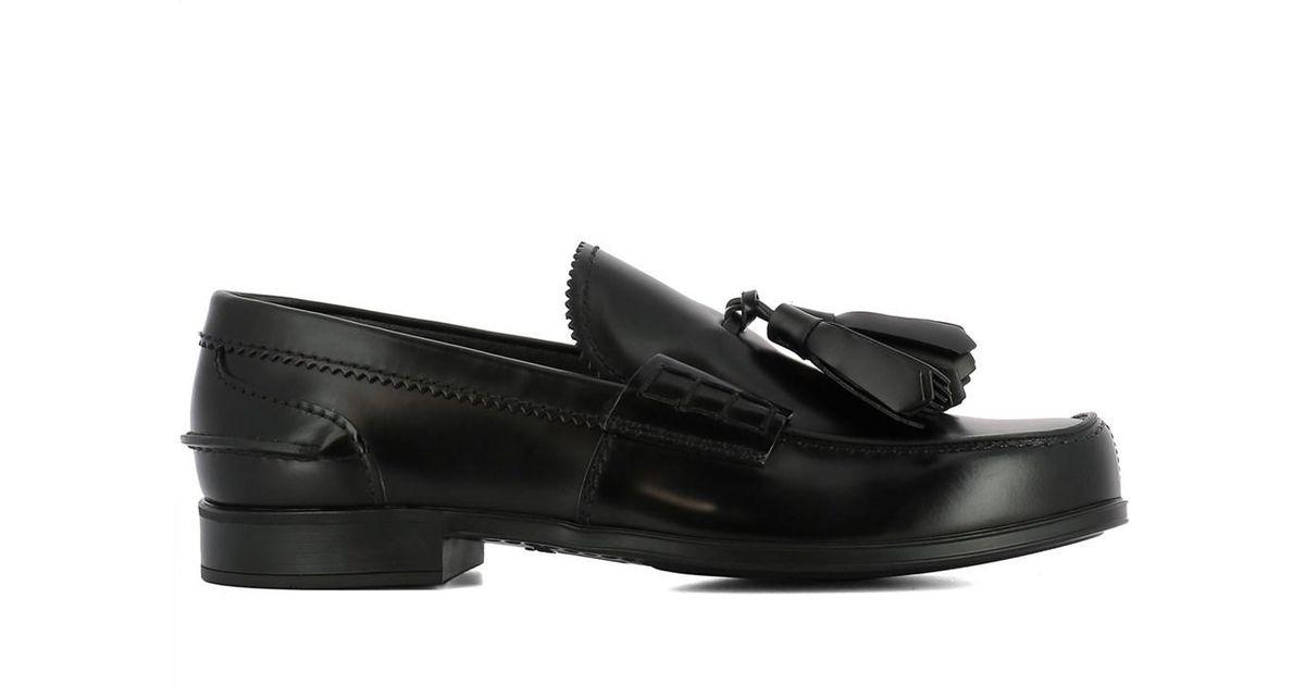 ab221fb0415 Lyst - Prada Men s Black Leather Loafers in Black for Men