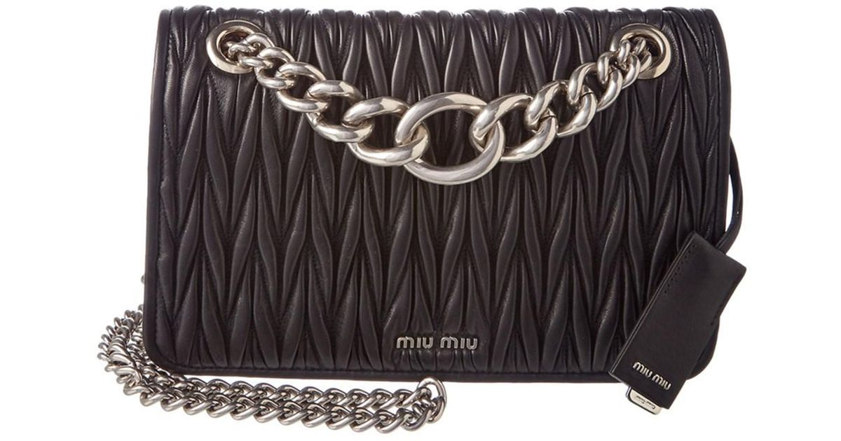 22a3e3c18705 Miu Miu Club Matelasse Leather Chain Shoulder Bag in Black - Lyst
