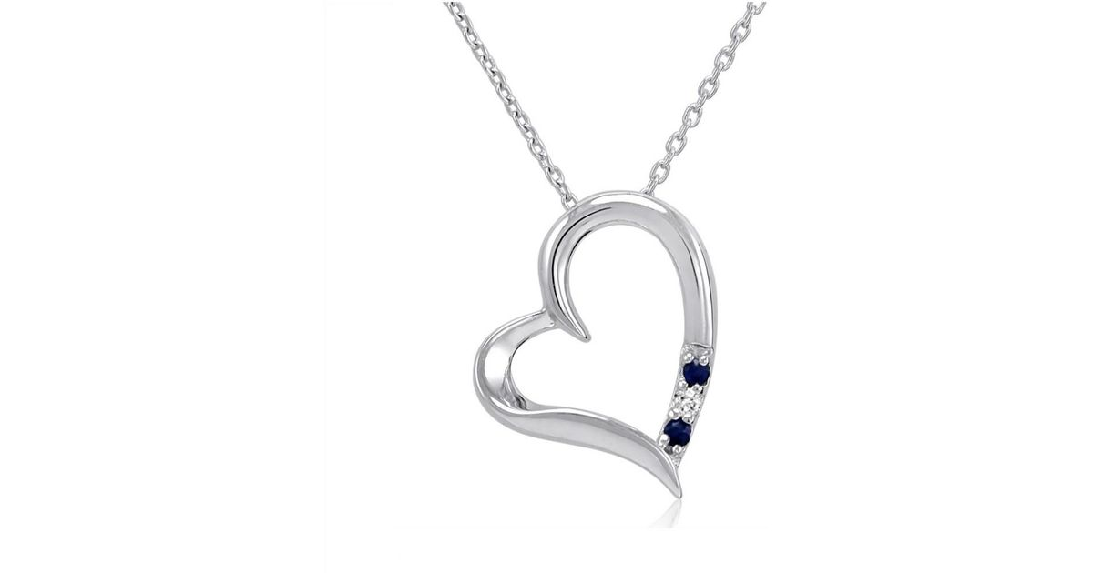 Lyst amanda rose collection sapphire and diamond heart three stone lyst amanda rose collection sapphire and diamond heart three stone heart pendant in sterling silver in metallic aloadofball Gallery