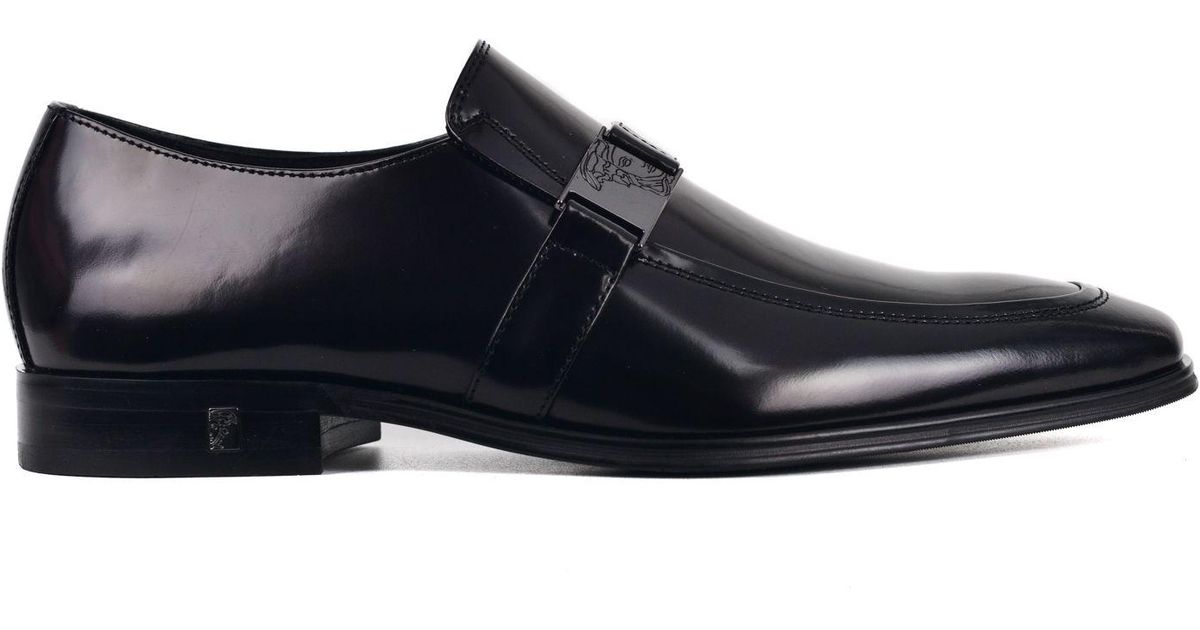 ef8bcfe7699 Lyst - Versace Collection Black Polished Leather Emblem Strap Loafers in  Black for Men