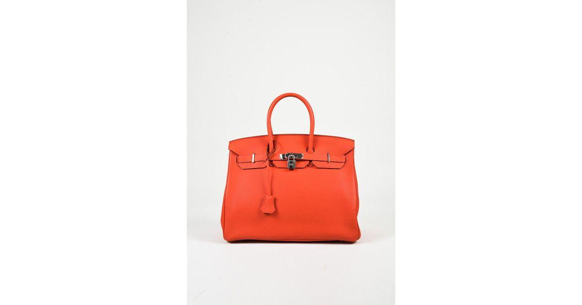 35c78fbe4b netherlands lyst hermès 1 orange poppy togo leather top handle birkin  satchel bag in orange d56a9