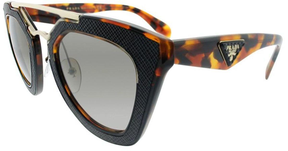 492a71d599bf ... 50% off lyst prada ornate pr 14ss vha3d0 havana black cat eye sunglasses  in black