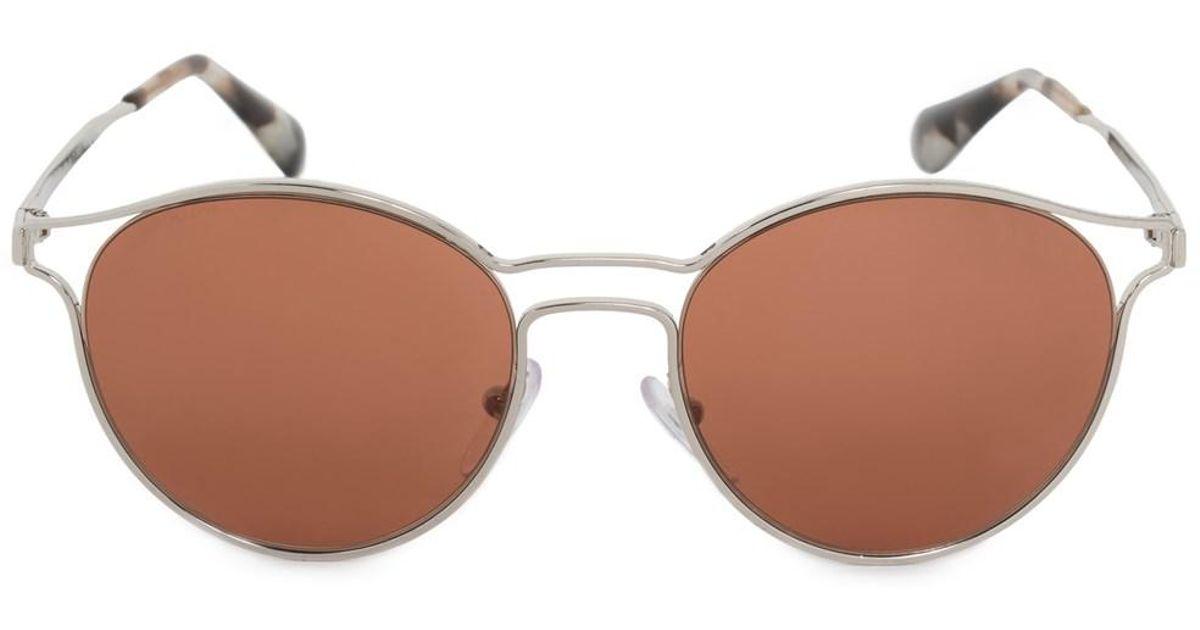 e2f78c54cd1c8 ... netherlands lyst prada cinema round sunglasses pr62ss 1bc6n0 53 silver  metal frame brown lenses in metallic