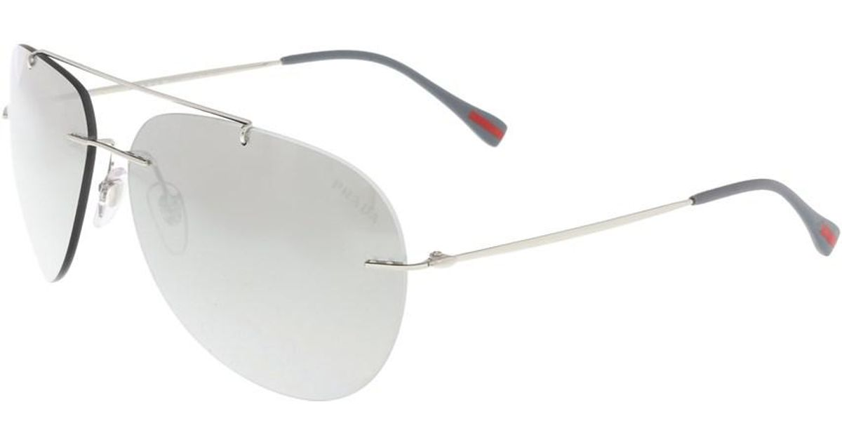 603e002bbea55 ... clearance lyst prada ps 50ps 1bc2b0 silver rimless aviator sunglasses  in metallic for men c4e38 eb846
