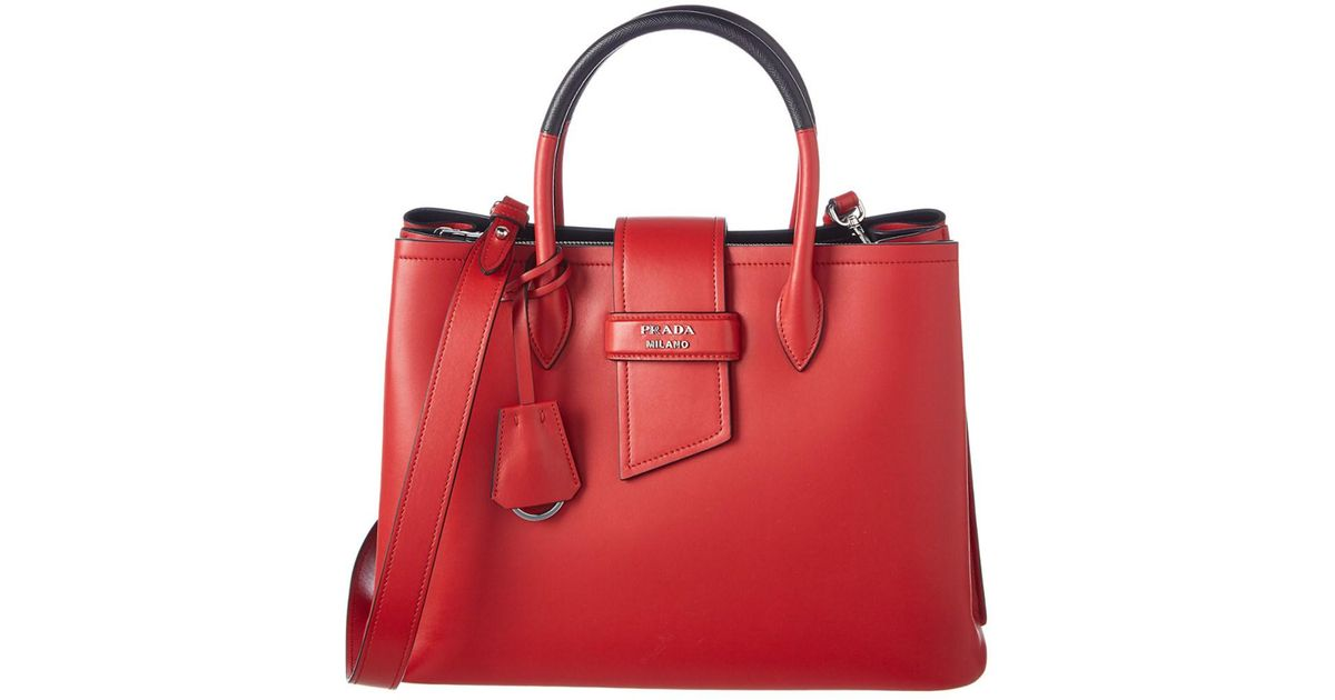 a0a75578ef1c Lyst - Prada Ribbon Double Handle Leather Tote in Red