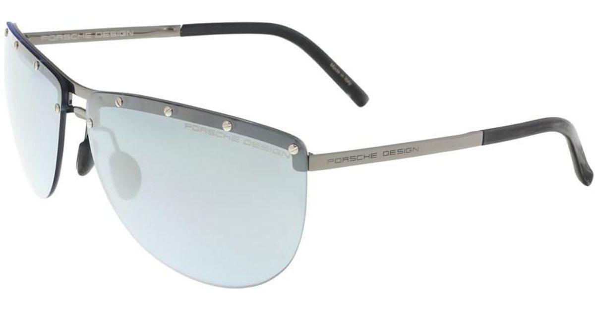 d2a7de6bf3 Lyst - Porsche Design P8577-b Silver Aviator Sunglasses in Gray