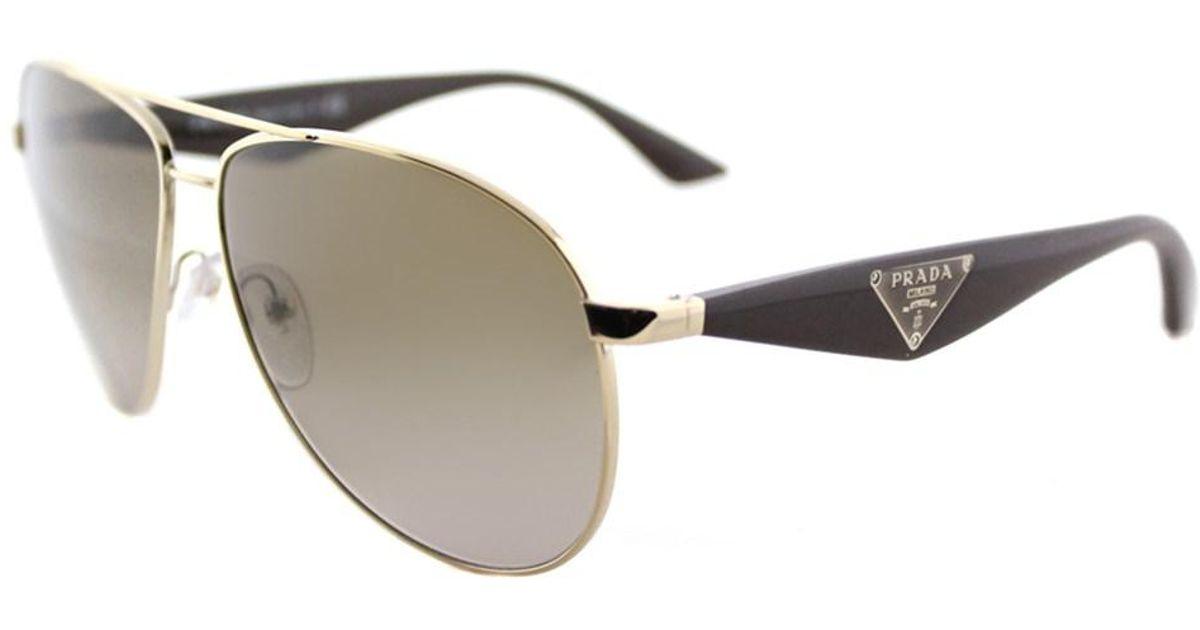 3b503832f2 ... order lyst prada pr 53qs zvn1x1 triangle pale gold aviator sunglasses  in metallic 0c1be fc90e