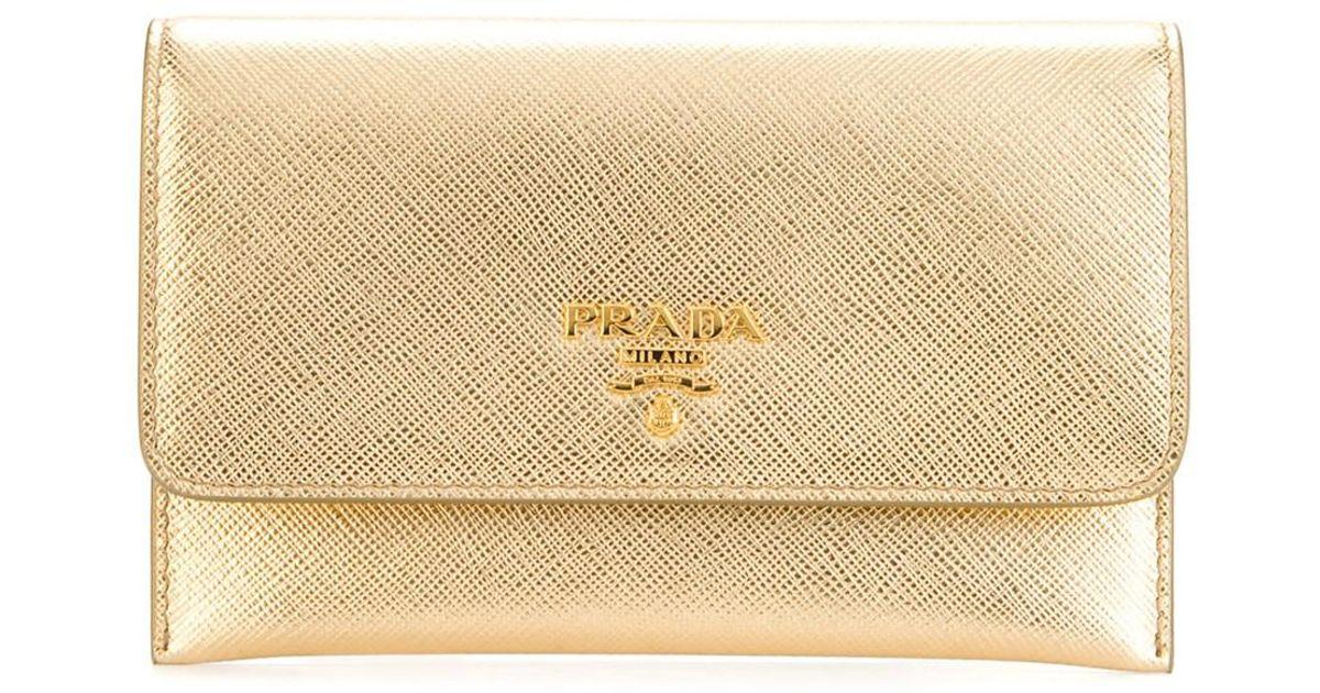 3da02e7419d usa prada saffiano zip around wallet platino gold 8224e 1e98b; discount  lyst prada womens gold leather wallet in metallic 7cd25 d6c46