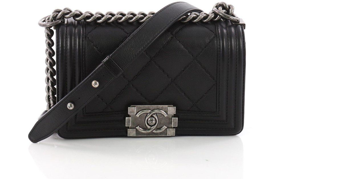 9477f1990d60 Lyst - Chanel Pre Owned Stitch Boy Flap Bag Quilted Calfskin Small in Black