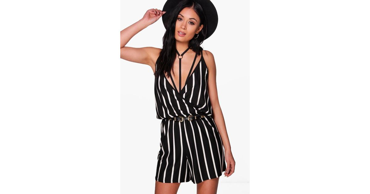 e59e462b576b Boohoo Wrap Over Cami Striped Playsuit in Black - Lyst