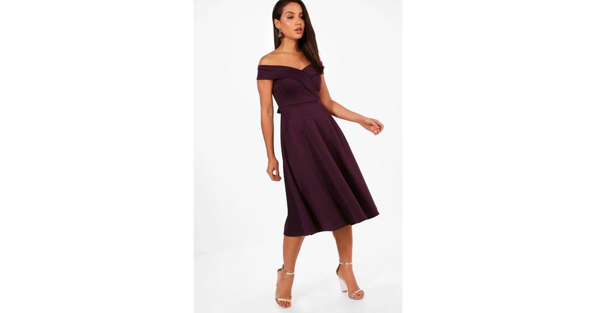 6b8ed6a5360c Boohoo Off The Shoulder Scuba Midi Skater Dress in Purple - Lyst