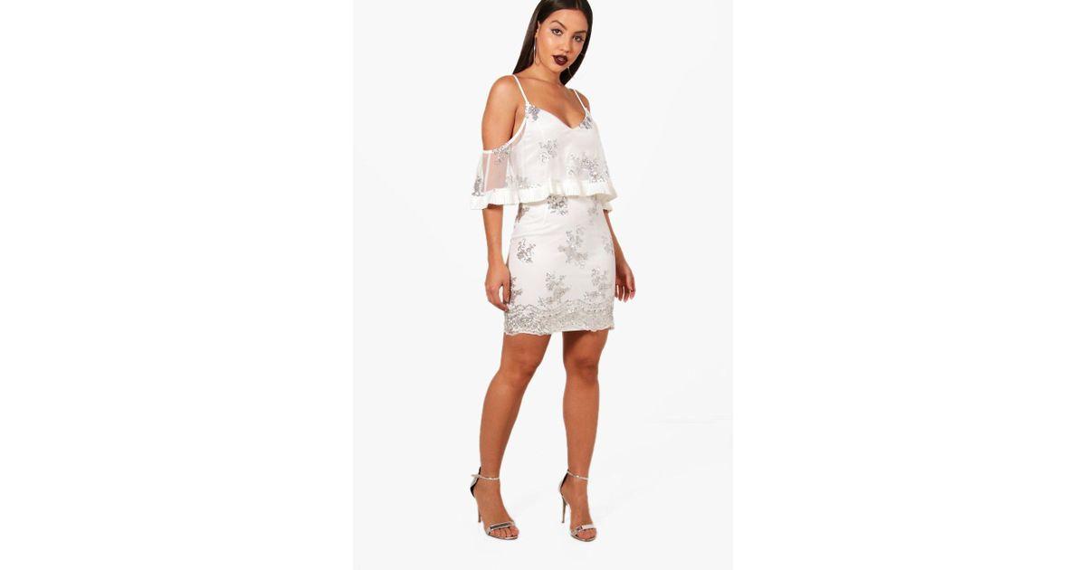 64575489ae4 Lyst - Boohoo Sequin And Mesh Bodycon Dress in Metallic