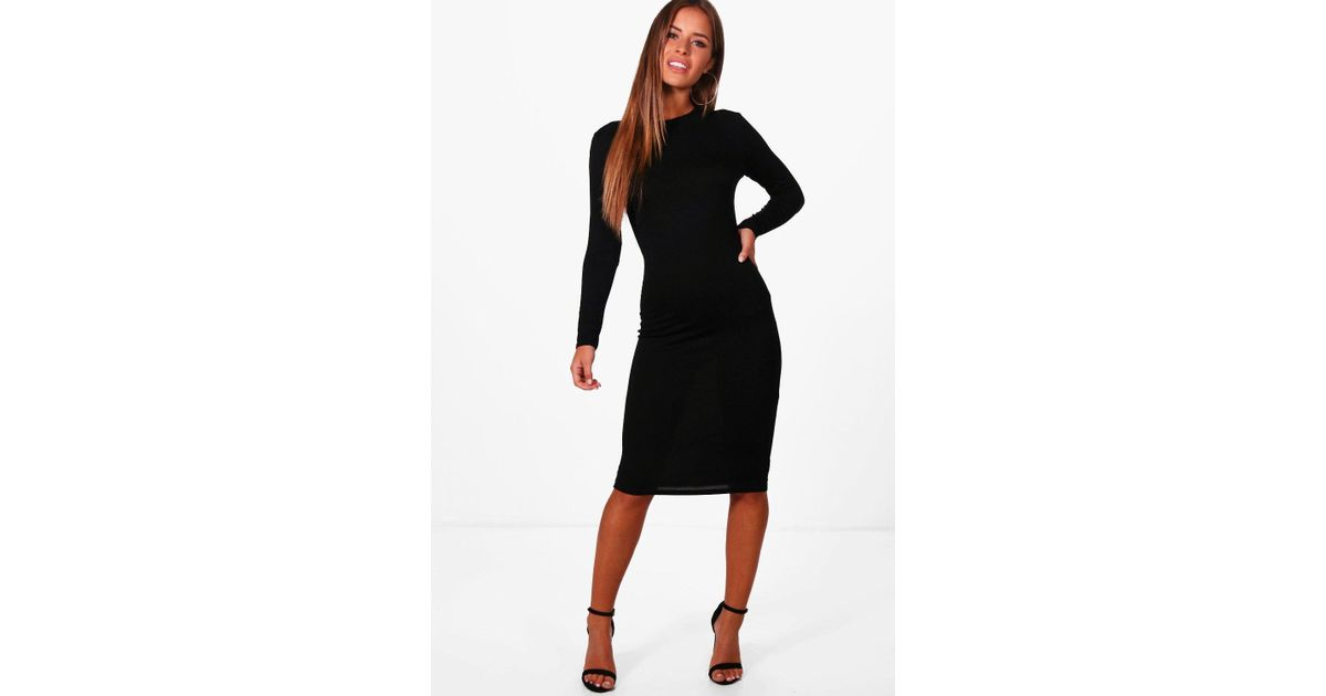 01d75a3bee2 Lyst - Boohoo Petite Basic Long Sleeve Midi Dress in Black