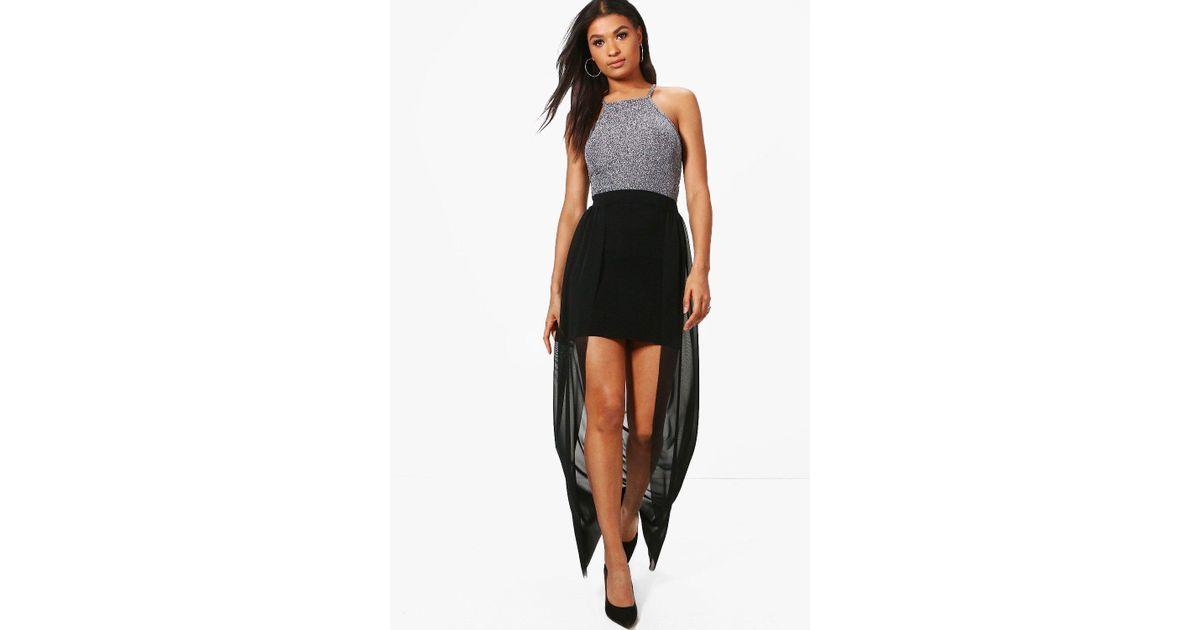 840eb0cb1d Boohoo Ava Mesh Overlay Maxi Skirt in Black - Lyst