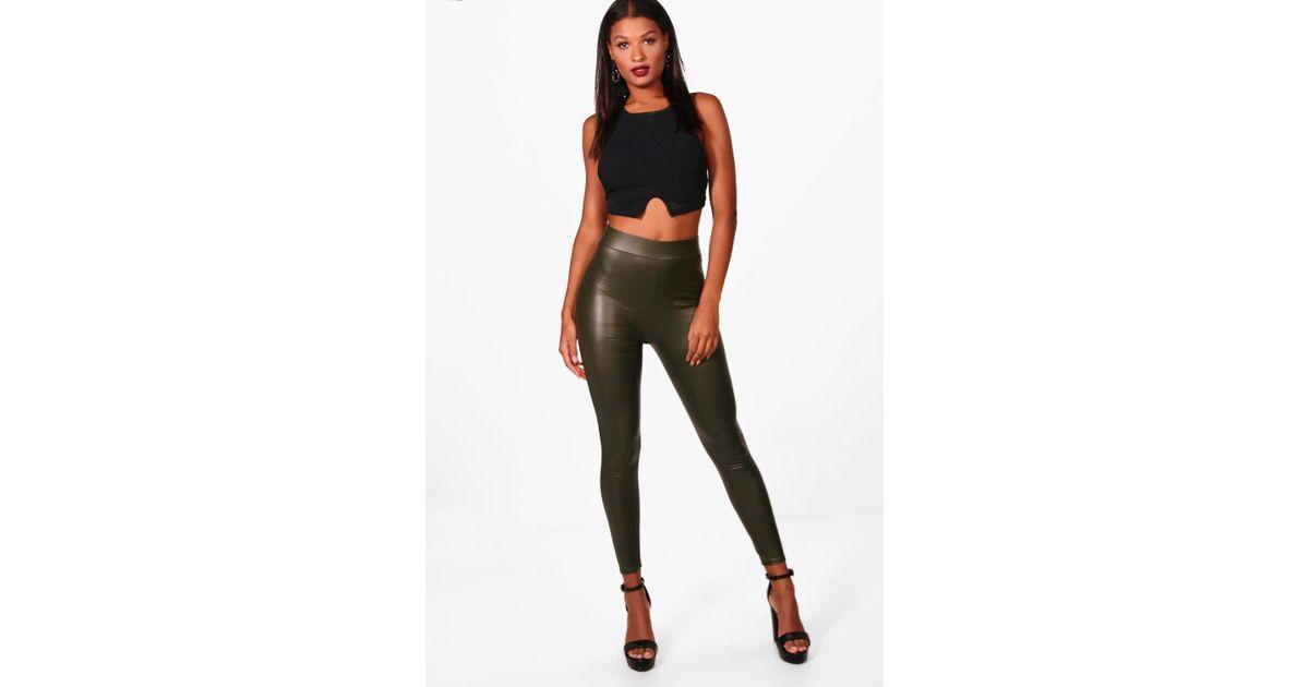 88a490ecbf3f08 Boohoo Danielle High Waisted Leather Look Leggings - Lyst